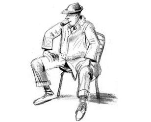 Tati, «Mon oncle» assis – croquis