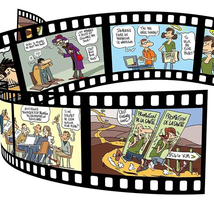 Mise en page des dessins réalisés pour la Mutualité chrétienne pour illustrer la couverture d'un dossier
