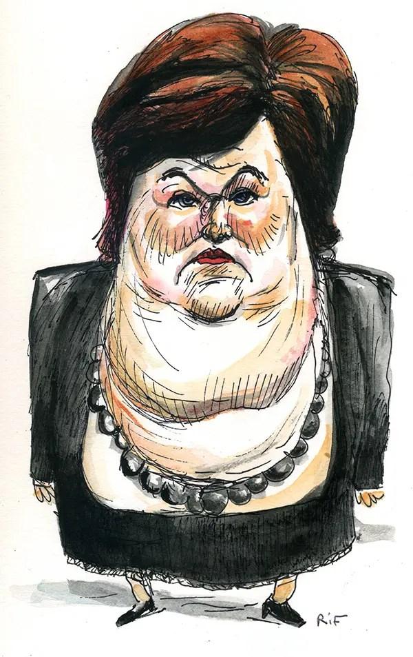 Caricature de Maggie De Block, ministre belge de la Santé