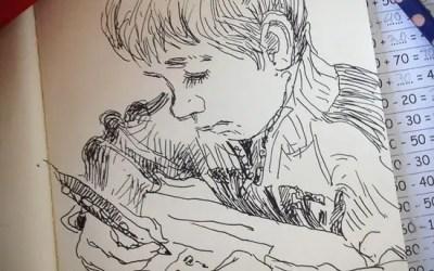 Arthur fait ses devoirs – croquis au feutre