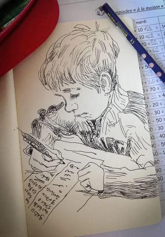 Croquis au feutre de mon gamin, Arthur, en train de faire ses devoirs.