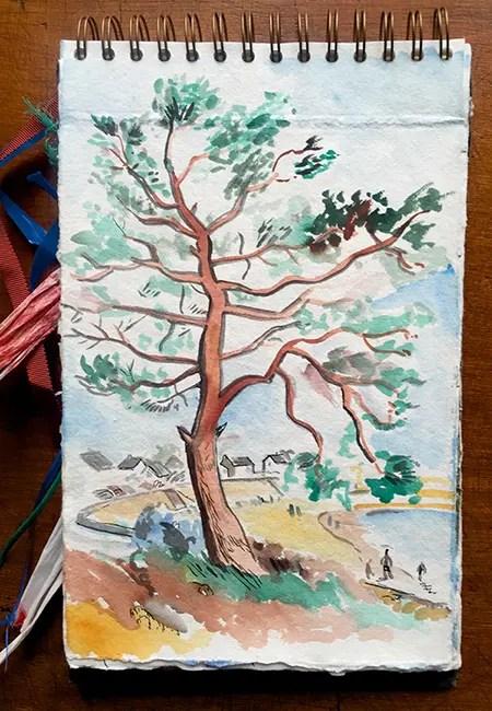 Dessin de la plage de Carnac - Canet de voyage de Vincent Rif
