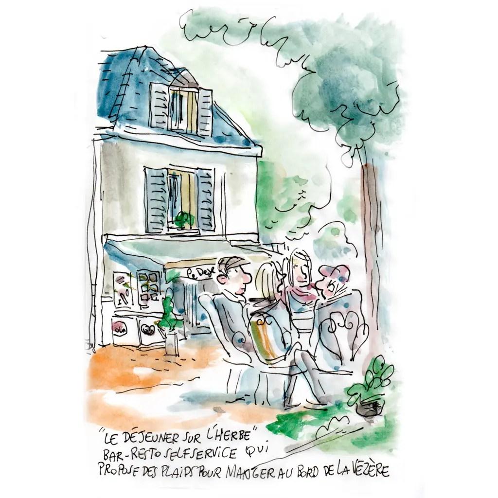 """Aquarelle à Saint-Léon sur Vézère. """"Le déjeuner sur l'herbe""""."""