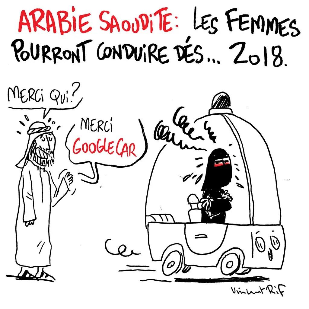 Dessin sur le droit de conduire des femmes en Arabie saoudite