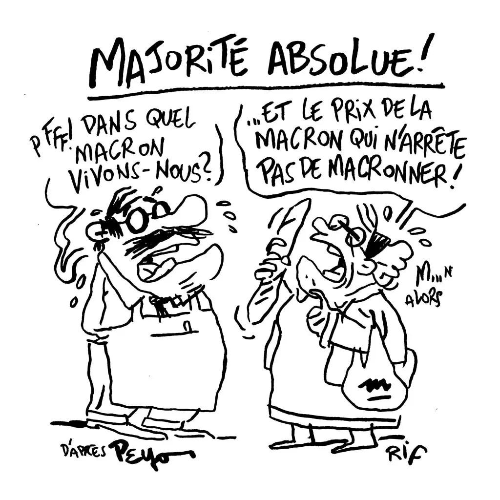 Dessin d'humeur : Macron obtient la majorité absolue à l'Assemblée. Bienvenue en Macronland