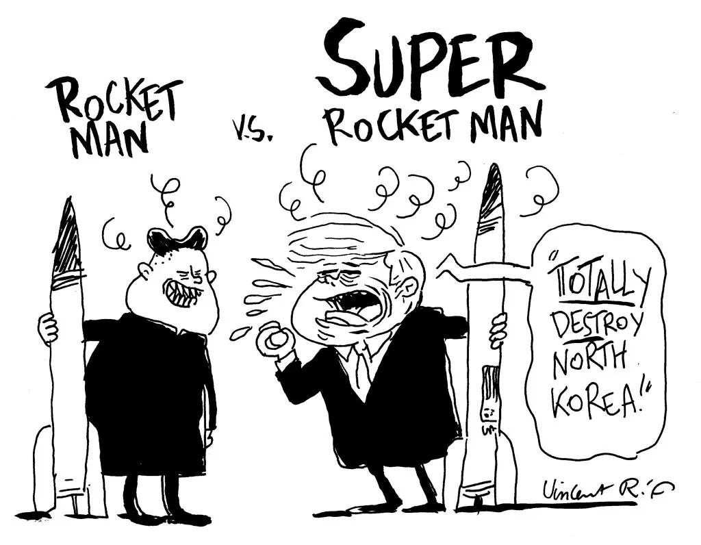 Cartoon Kim Jong-il vs Donald Trump