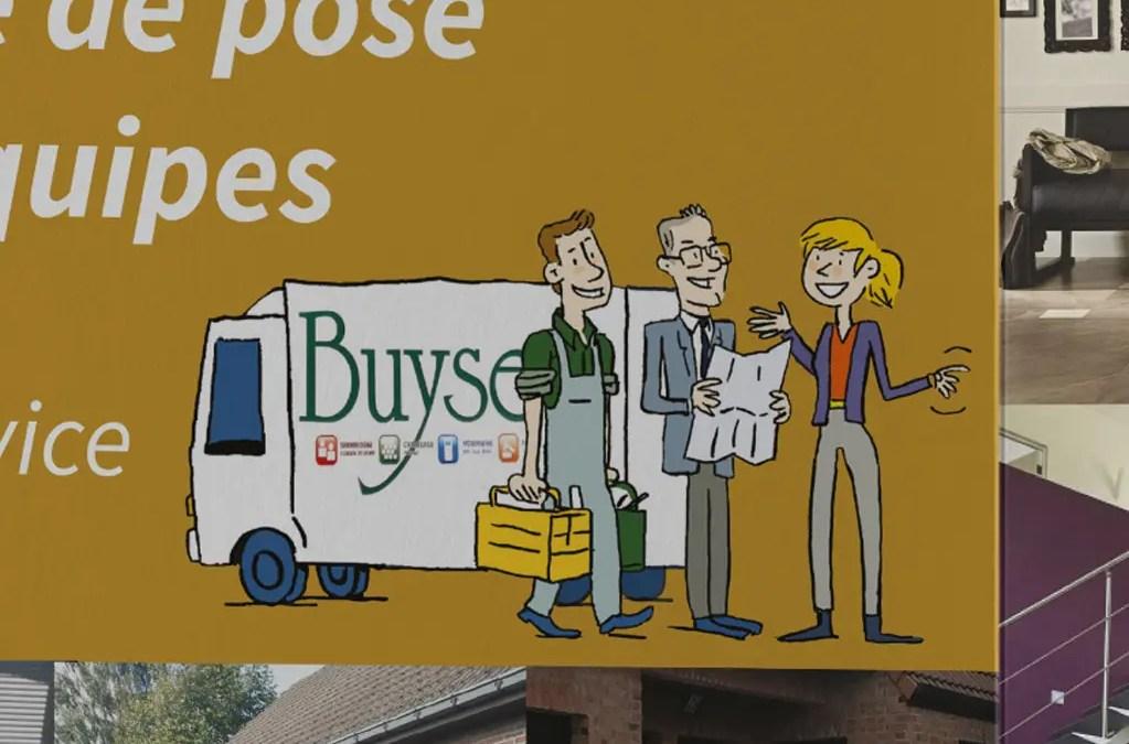 Illustrations et mise en page d'un triptyque pour les établissements Dominique Buyse