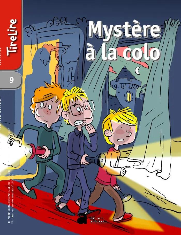 """Illustrations en couleur de la couverture de """"Mystère à la Colo"""". 2018. Editions Averbode, Collection TireLire."""