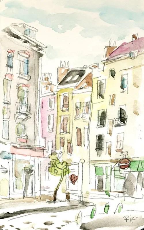 Croquis dans le quartier du Bailli. Crayon et aquarelle.