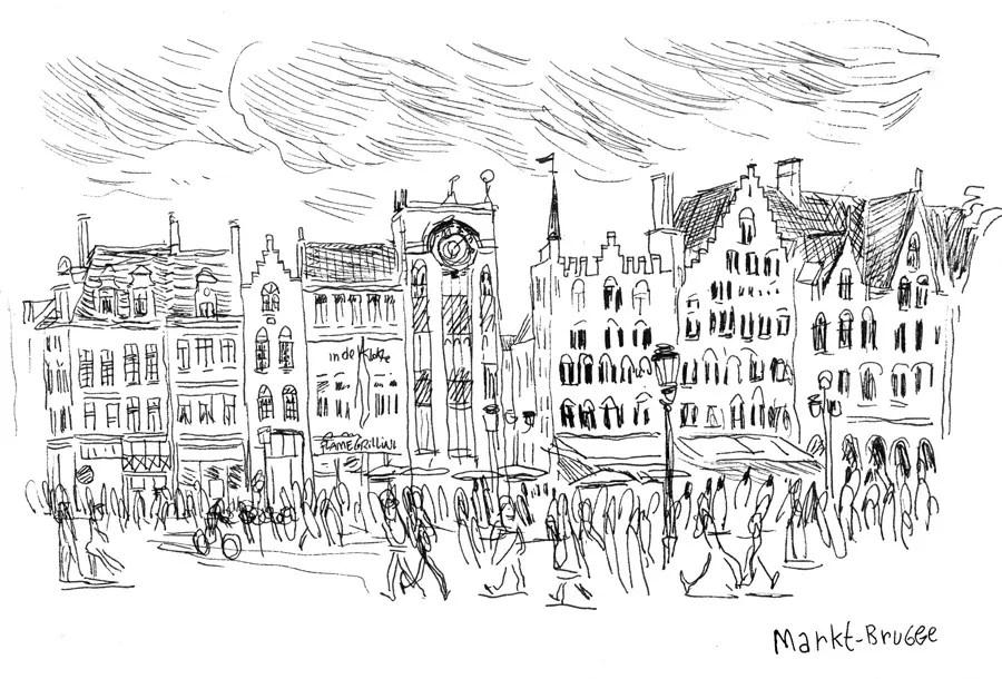 Croquis de Markt, Brugges