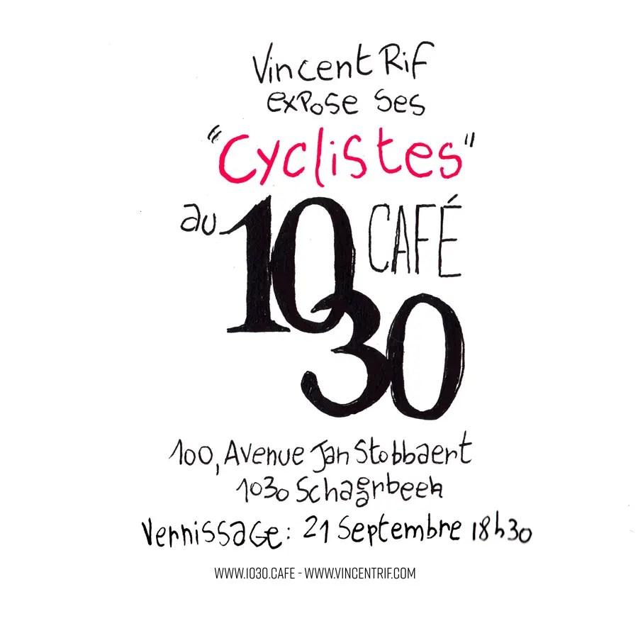 """Dessin de l'invitation au vernissage d'exposition """"Les Cyclistes de Vincent Rif"""" au 1030 Café."""