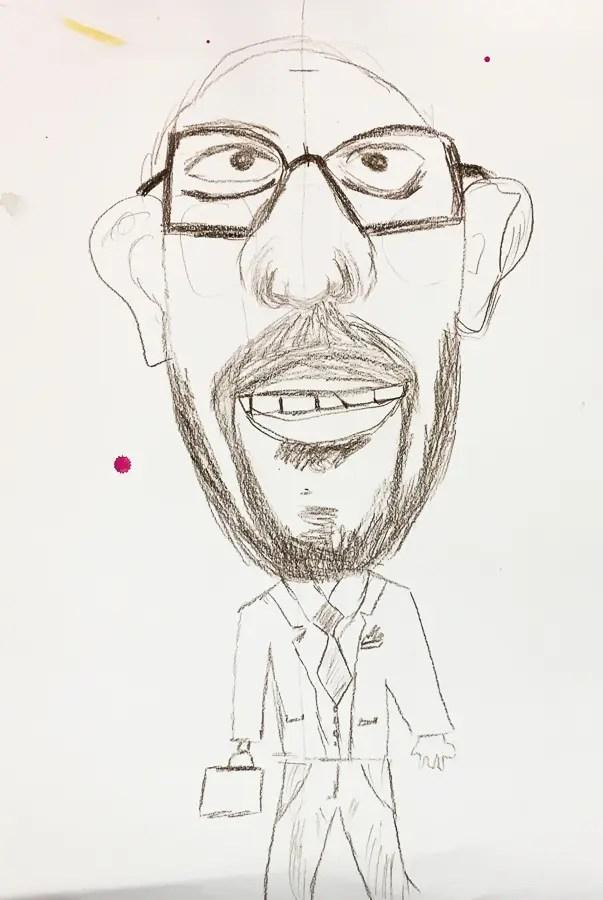 Caricature de Charles Michel par une adulte,