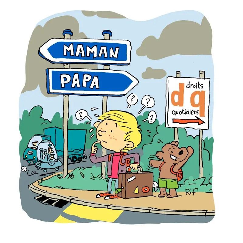 """Dessin pour le magazine de l'association juridique """"Droits au quotidien""""."""