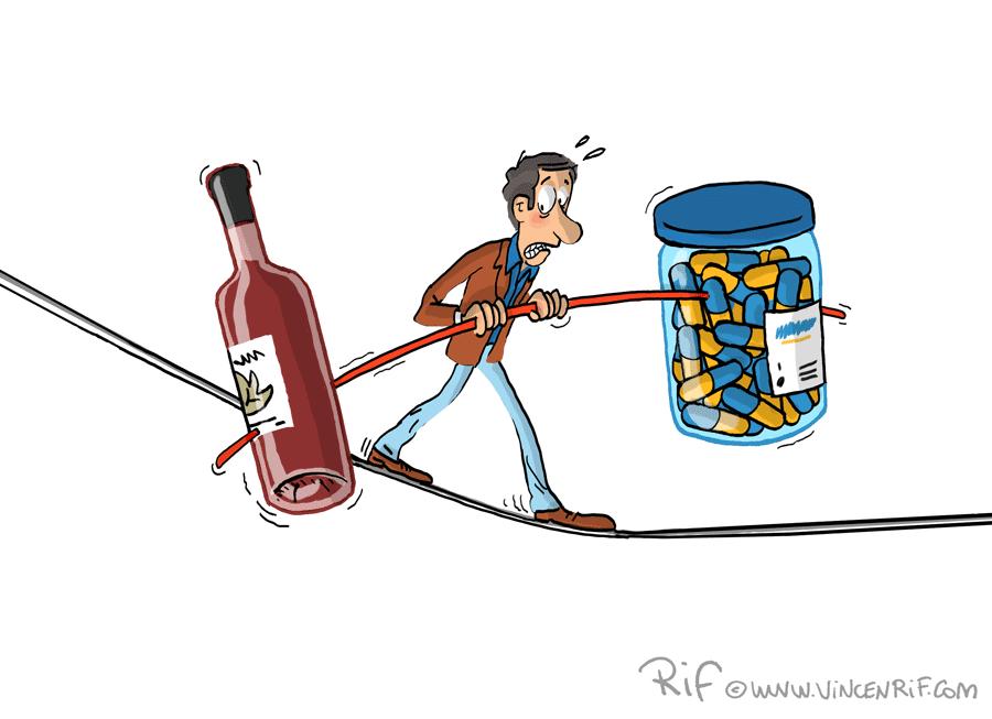 funanbule en équilibre (peur) du mélange entre alcool et médicaments