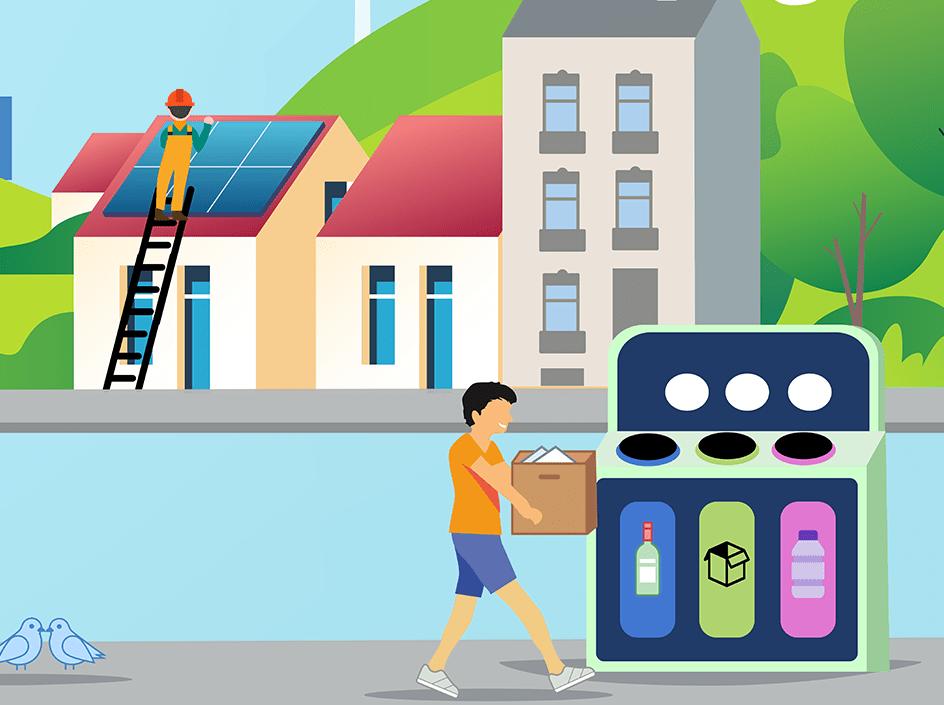 décarbonisation (recyclage, vélo, panneaux solaires, éolien, voiture électriques, transport en commun, végétation dans les villes, etc.)