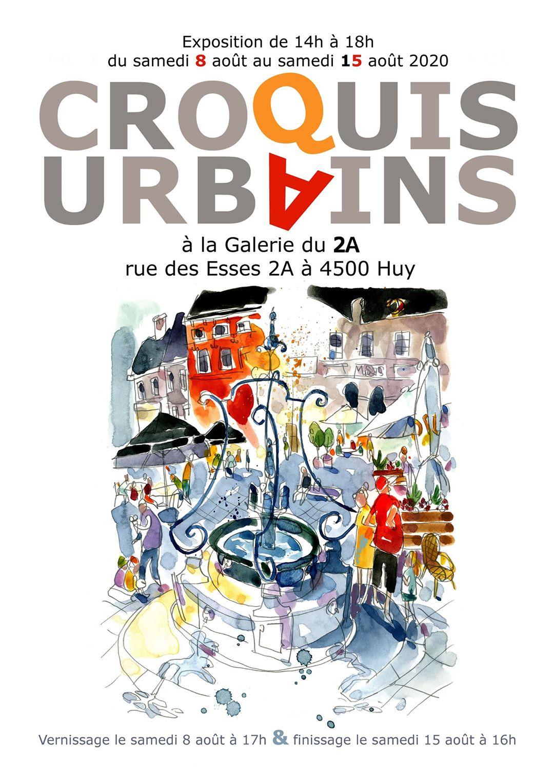 affiche de l'exposition croquis urbains à Huy - aout 2020