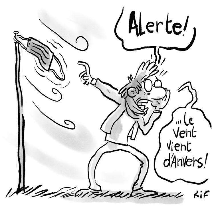 le nombre de cas de coronavirus en forte hausse à Anvers - dessin humoristique