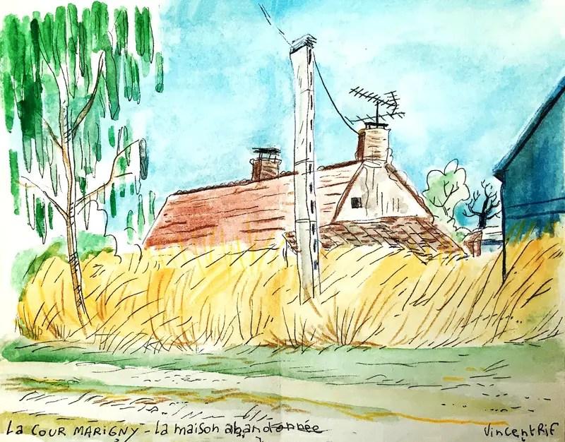 Maison abandonnées dans les champs du Loiret - aquarelle sur carnet de voyage