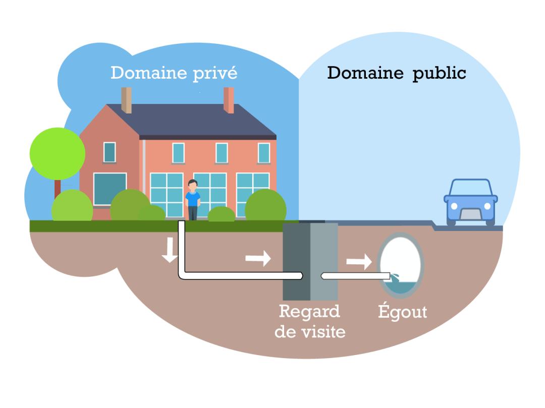 egouttage - raccordement d'une maison individuelle sur le systeme public des egouts en facilitation visuelle - infographie nen Adobe Illustrator