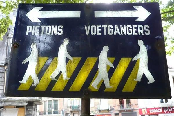 parc josaphat panneau vintage pietons et voetgangers