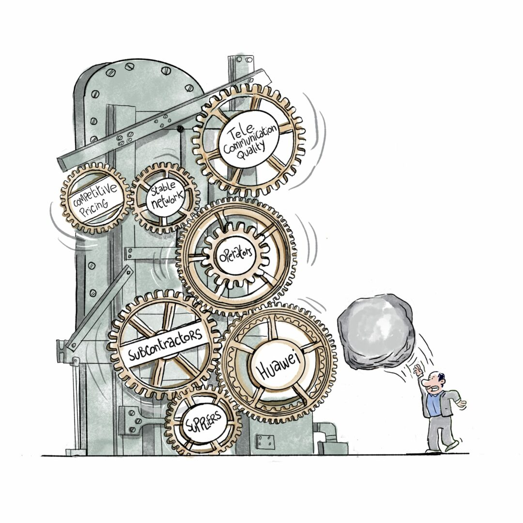 drawing of a rock and a mechanism