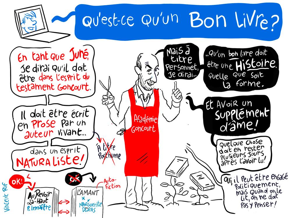 Pierre Assouline, membre de l'académie Goncourt, facilitation visuelle sur