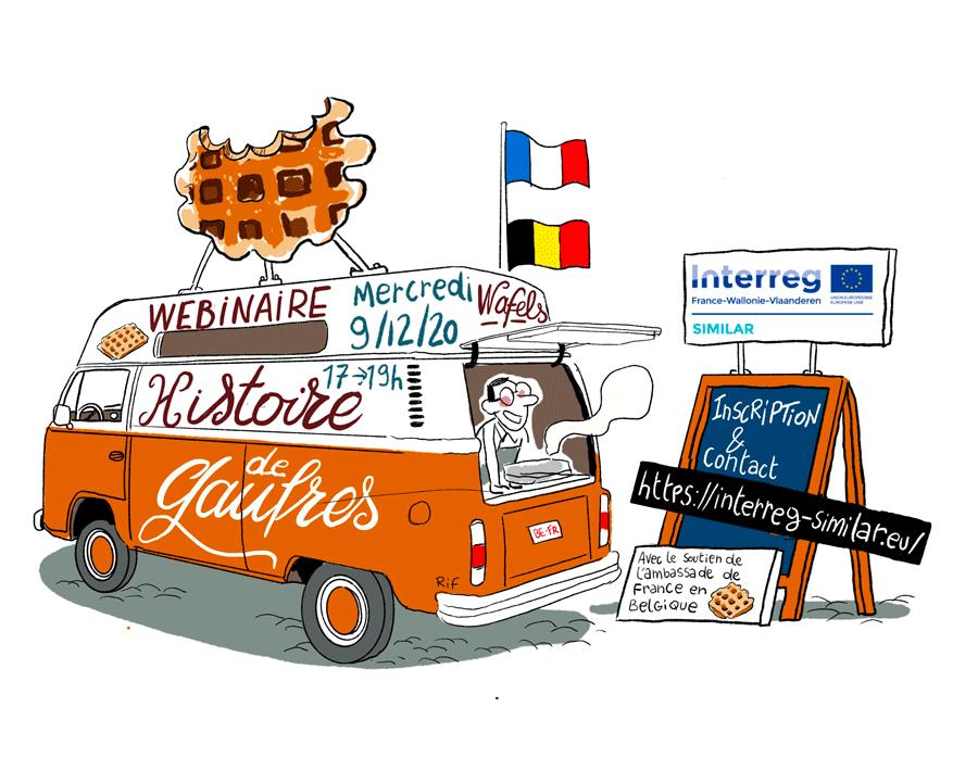 visuel de promotion d'un webinaire franco-belge avec un foodtruck vintage