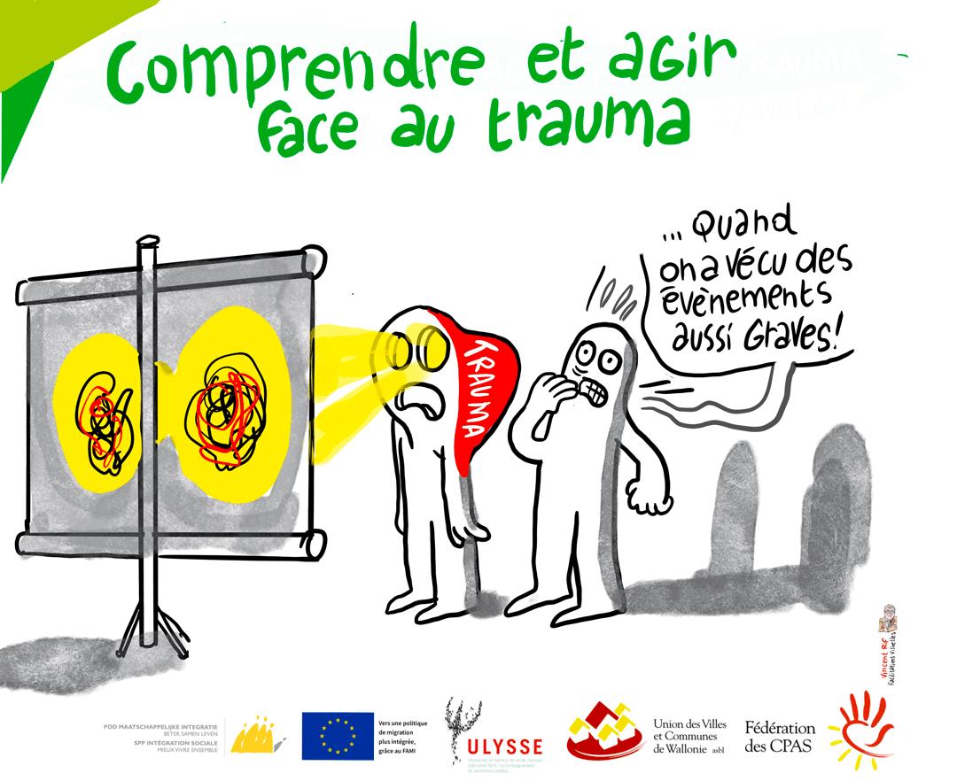 """image extraite d'une facilitation visuelle lors d'une formation intititulée """"comprendre et agir face au trauma"""""""