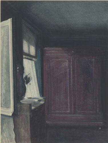 """Léon Spilliaert, """"La chambre à coucher"""", Encre de Chine, lavis, pinceau, pastel, crayon de couleur, aquarelle sur papier"""