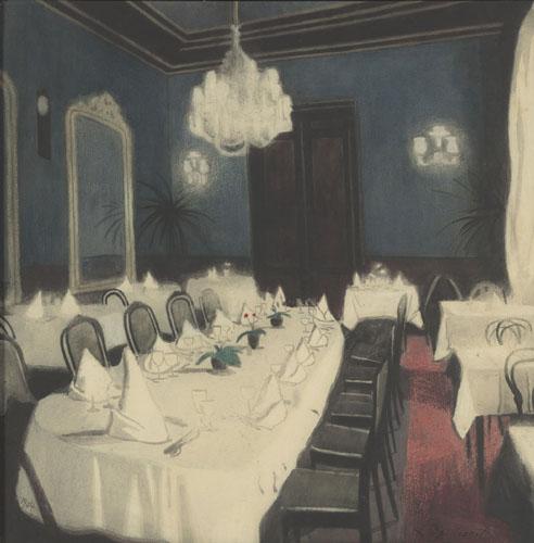 """Léon Spilliaert, """"Salle de tables d'hôtes"""", Encre de Chine, lavis, pinceau, pastel, aquarelle sur papier (1904)"""