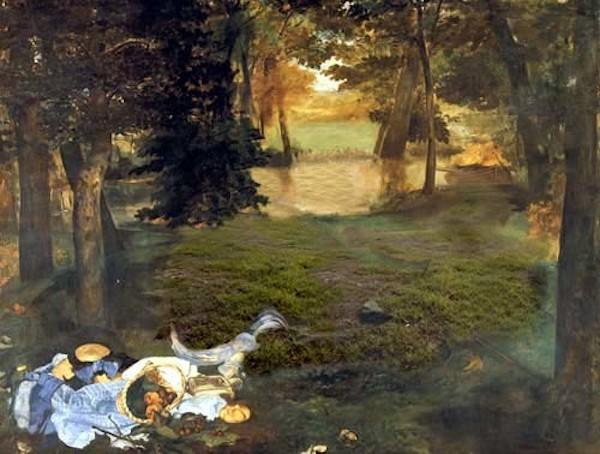 """Julie Rrap, """"Sans titre, d'après le déjeuner sur l'herbe de Manet"""", partie de l'oeuvre """"Flesh Out"""" (2002)"""