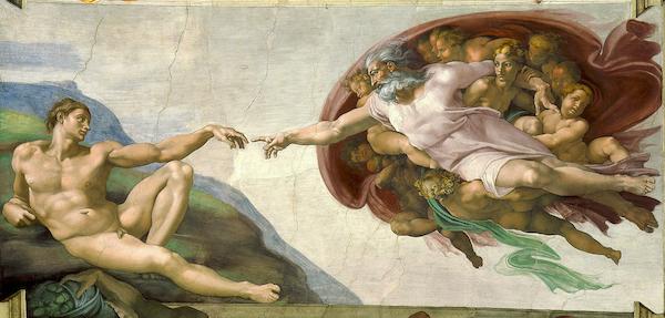 """Michel-Ange """"La création d'Adam"""" (1508-1512)"""