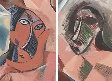 Deux visages extraits des demoiselles d'Avignon.