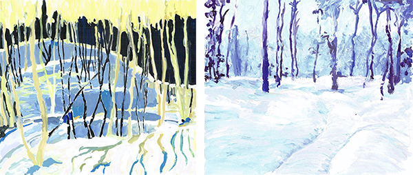 """Copies simplifiées (à la gouache) des """"Ombres neigeuses"""" de Tom Thomson et """"Lueur dorée d'hiver"""" de Walter Launt Palmer (à droite)"""