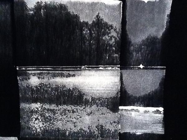 """Vinciane Lacroix, """"Paysage"""", peinture blanche sur papier velours (CC-BY-SA)"""