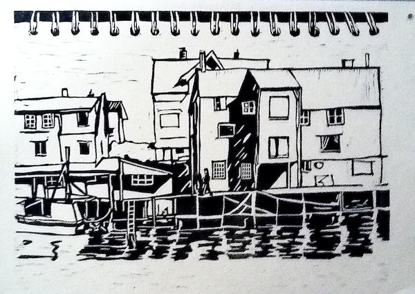 Linogravure îles Lofoten Vinciane Lacroix
