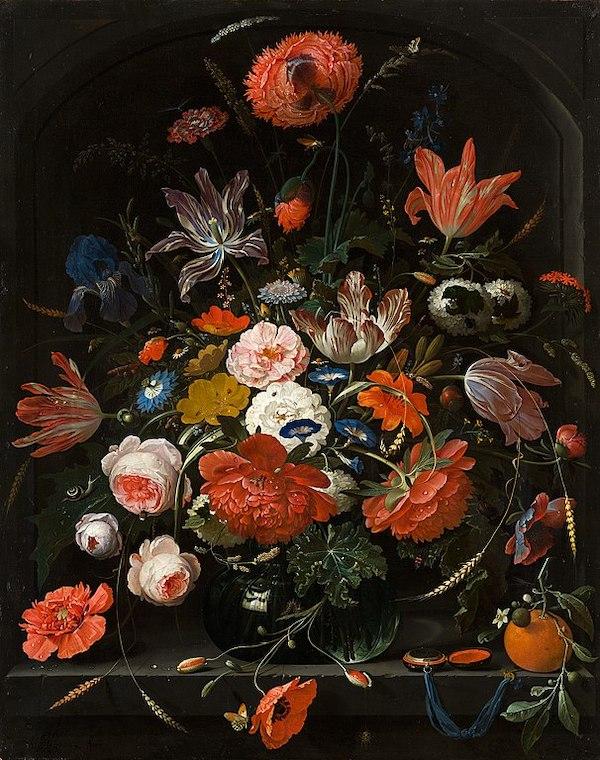 """Abraham Mignon, """"Fleurs dans un vase en verre"""" (1669-1672)"""