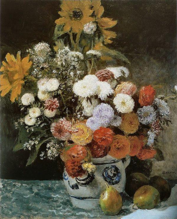 """Auguste Renoir,""""Fleurs dans un pot en faïence """" (1869)"""