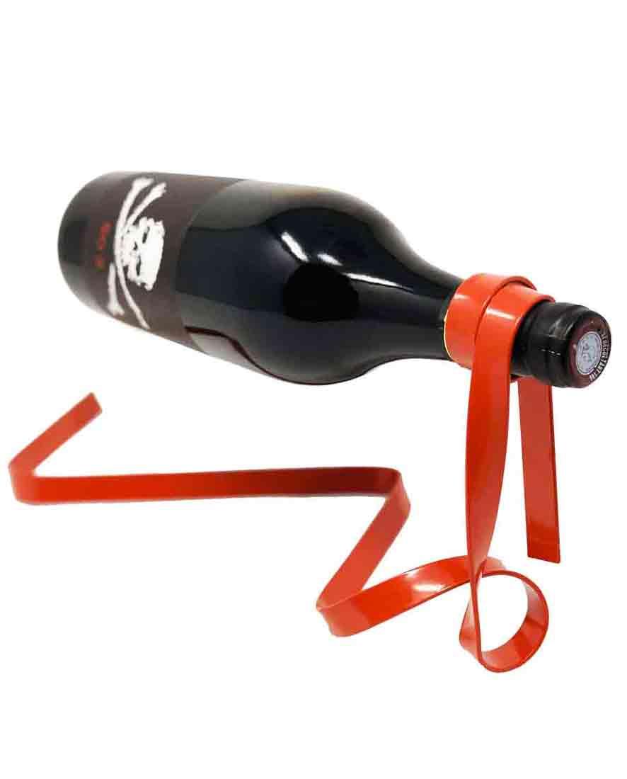 accessoire porte bouteille vin ruban en metal rouge