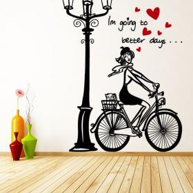 Vinilos Decorativos Mujer Romántica Bicicleta