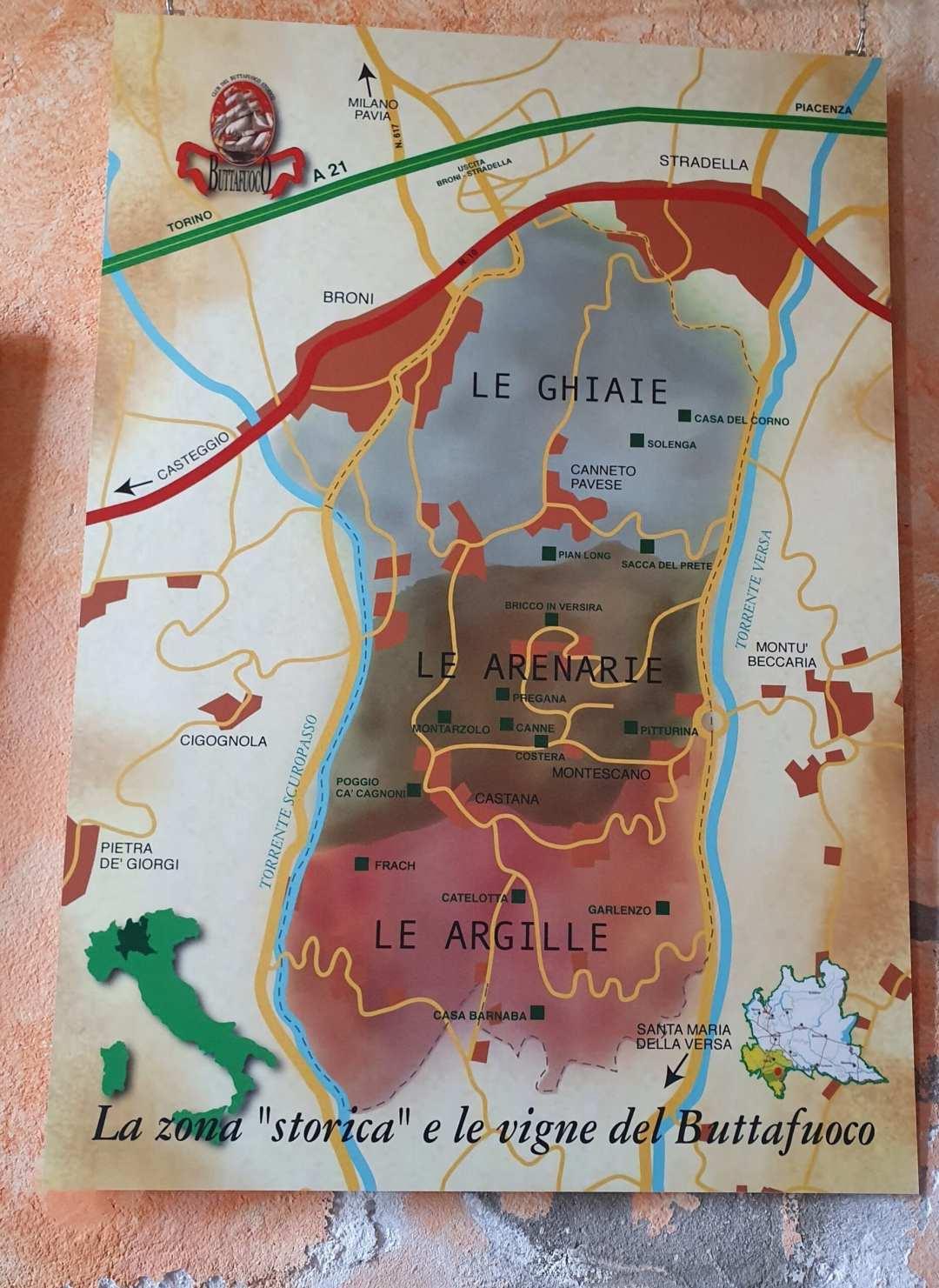 Mappa della zona del Buttafuoco nell'Oltrepò Pavese