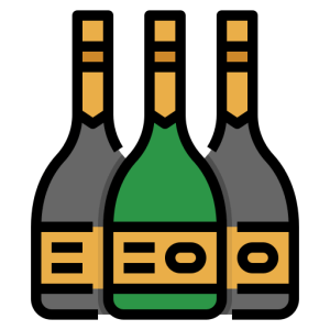 Fľaše na víno, destiláty a šampanské