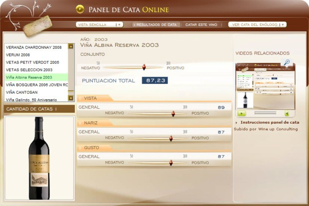 CATA D.O.C. RIOJA - VIÑA ALBINA RESERVA 2003 - 87.23 PUNTOS