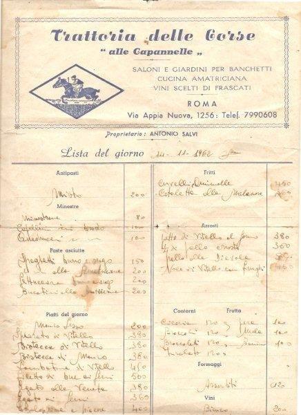 Menu dei primi anni sessanta della Trattoria delle Corse alle Capannelle