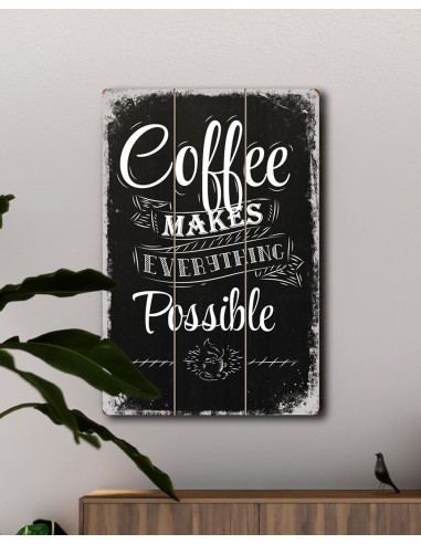 vinoxo large vintage coffee poster wall hanging plaque coffee makes everything possible