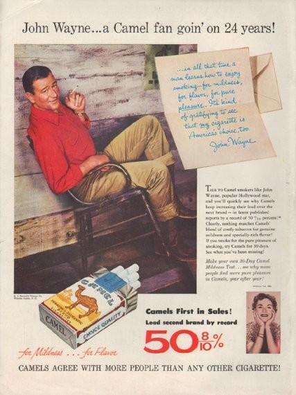 1954 Camel Cigarettes Vintage Ad Quot John Wayne Quot