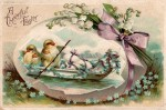 Easter Vintage Postcard - Baby Chicks Rowing