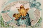 Blue Egg and Chicks Vintage Easter Postcard