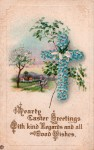 Easter Vintage Postcard – Cross of Blue Flowers