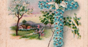 Easter Vintage Postcard - Cross of Blue Flowers
